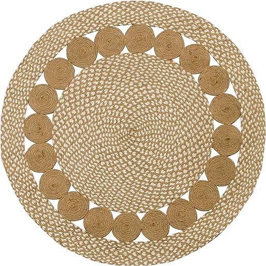 Alfombra redonda de algodón natural y yute trenzado PURE Eco (90 ...