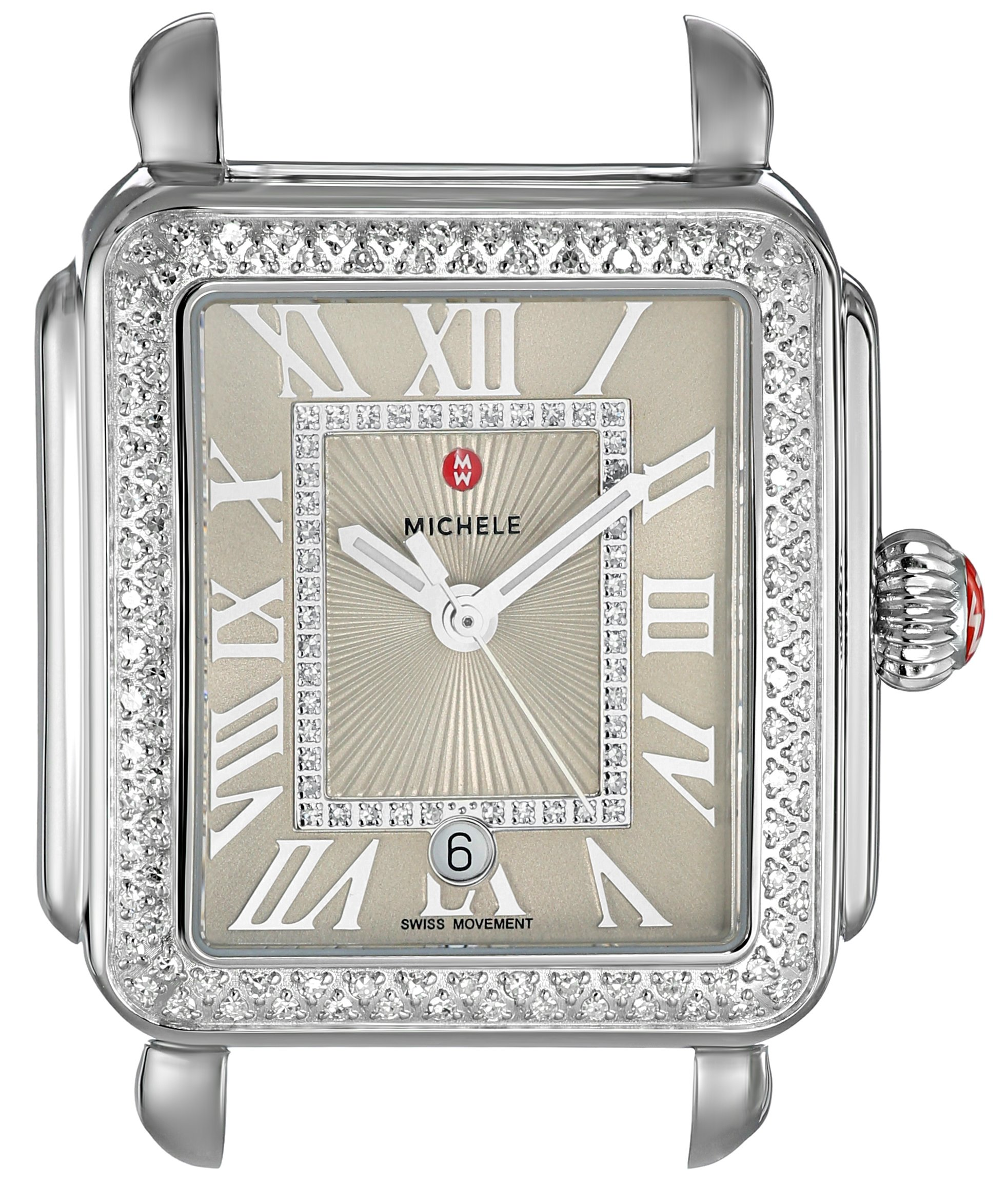 MICHELE Women's 'Deco Head' Swiss Quartz Stainless Steel Casual Watch, Color:Beige (Model: MW06T01A1113)