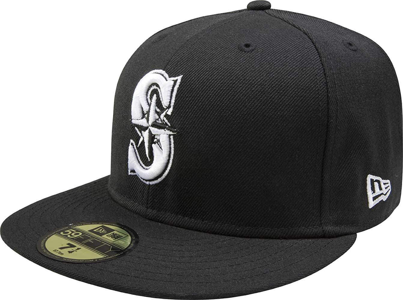 681a0971 MLB Seattle Mariners Black with White 59FIFTY Fitted Cap, 7 3/4