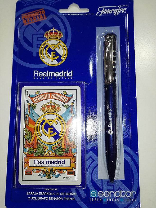 HERACLIO FOURNIER BARAJA ESPAÑOLA DE 50 Cartas Y BOLIGRAFO Real Madrid: Amazon.es: Juguetes y juegos
