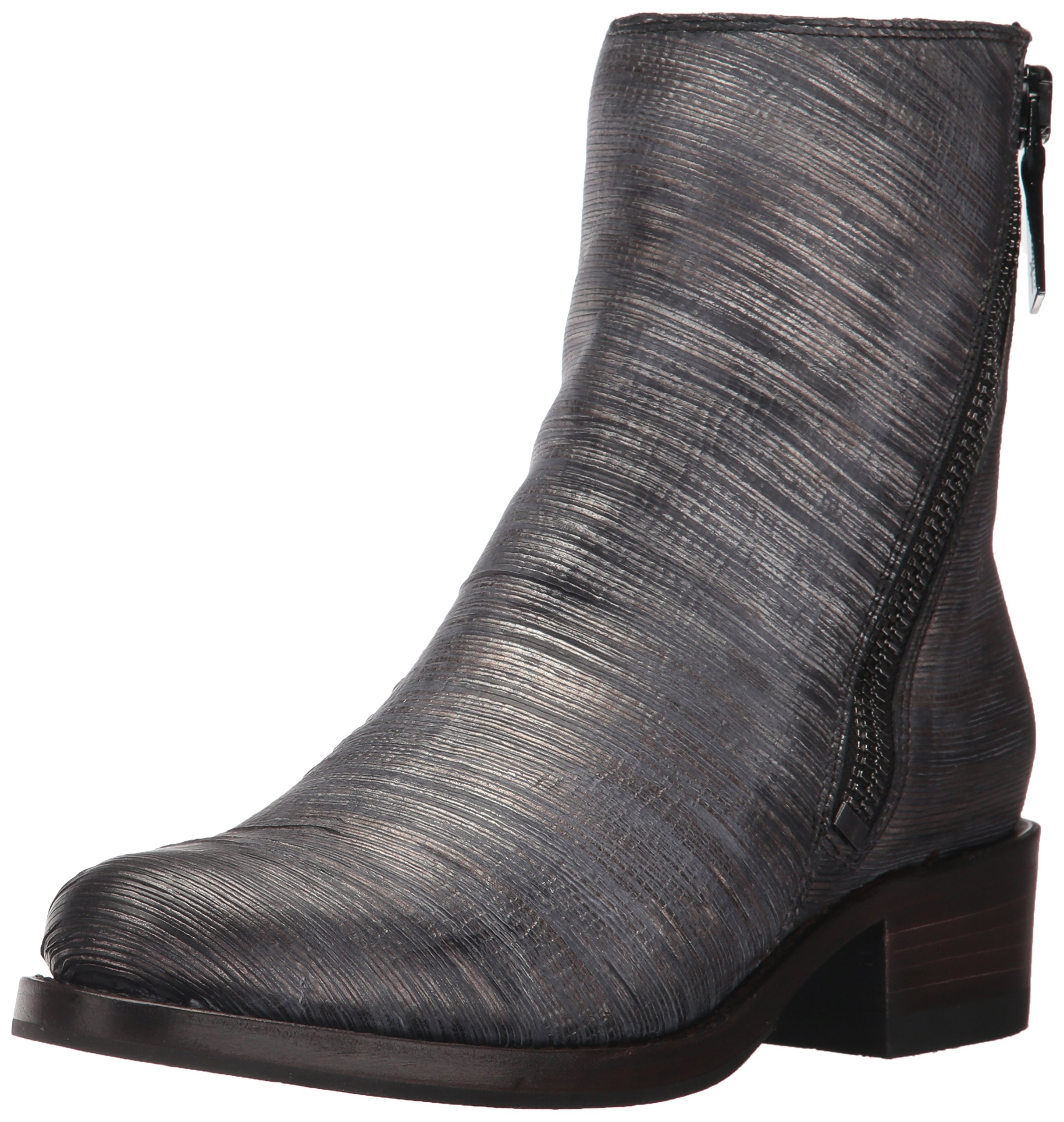 FRYE Women's Demi Zip Bootie Boot, Pewter Cut Metallic, 8 M US