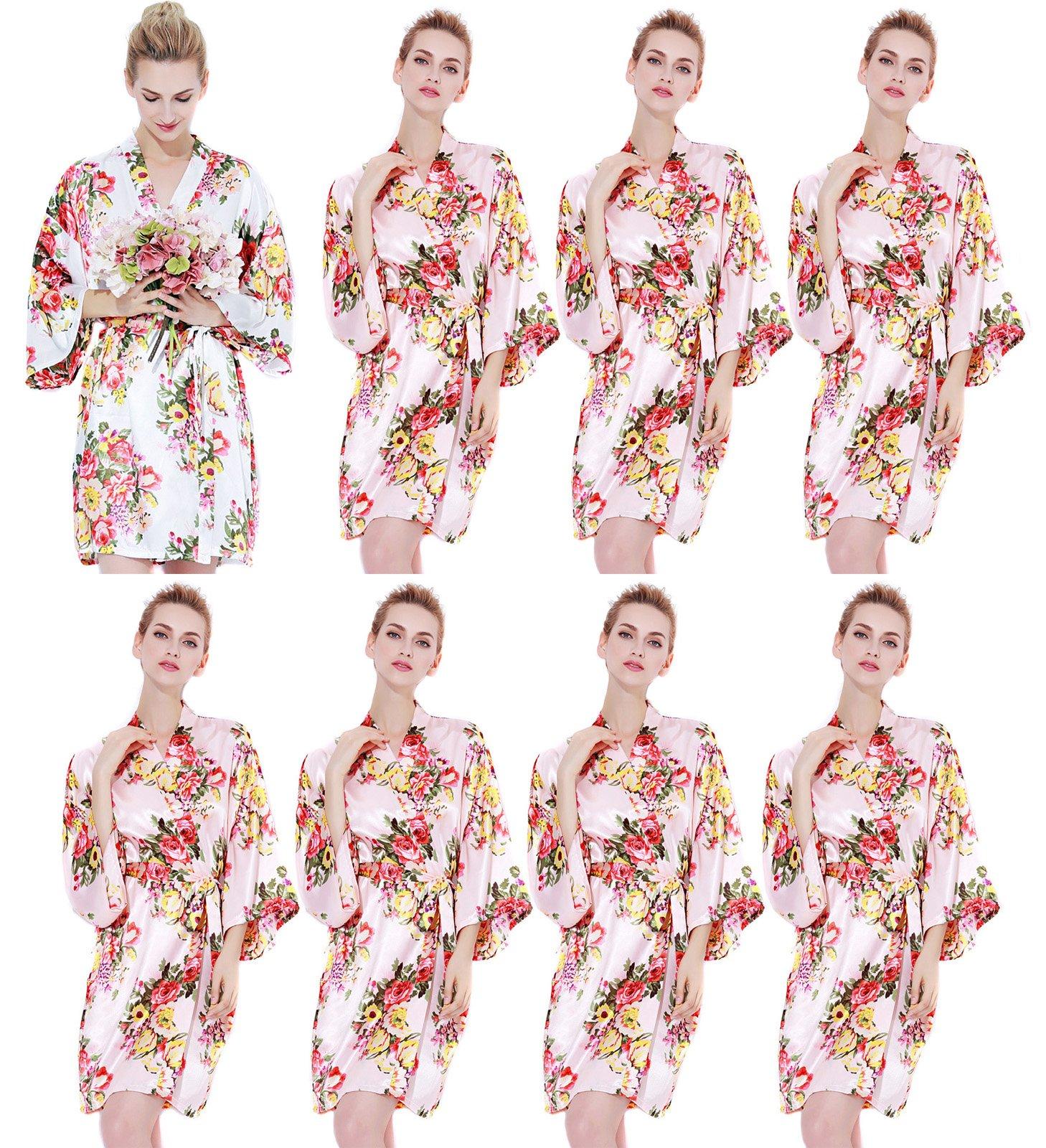 Endless Envy Women's Satin Floral Robes Bridesmaid Wedding Kimono Set 3-10 (One Size Fits 0-14, Blush (Set Of 8)