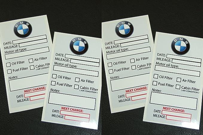 Bmw owner oil change service reminder sticker set of 4
