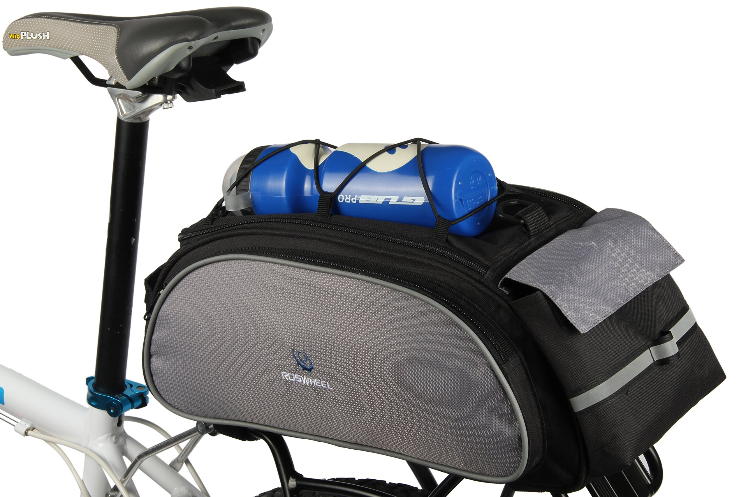 Best Fit For U Roswheel Bicycle Cycling Bike Saddle Rack Seat Cargo Bag Rear Pack Trunk Pannier Handbag Blue Outdoor Traveling New(Black) by SunbowStar (Image #3)