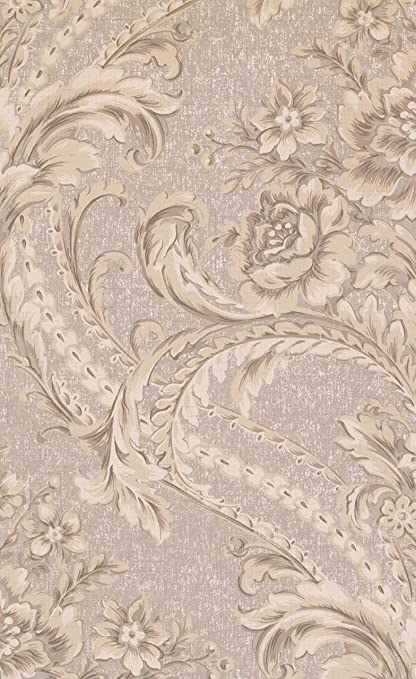 """BQ3891 Saint Augustine Baroque Floral Damask Wallpaper Double Roll 20.5"""" x 33' by York Wallcoverings - - Amazon.com"""