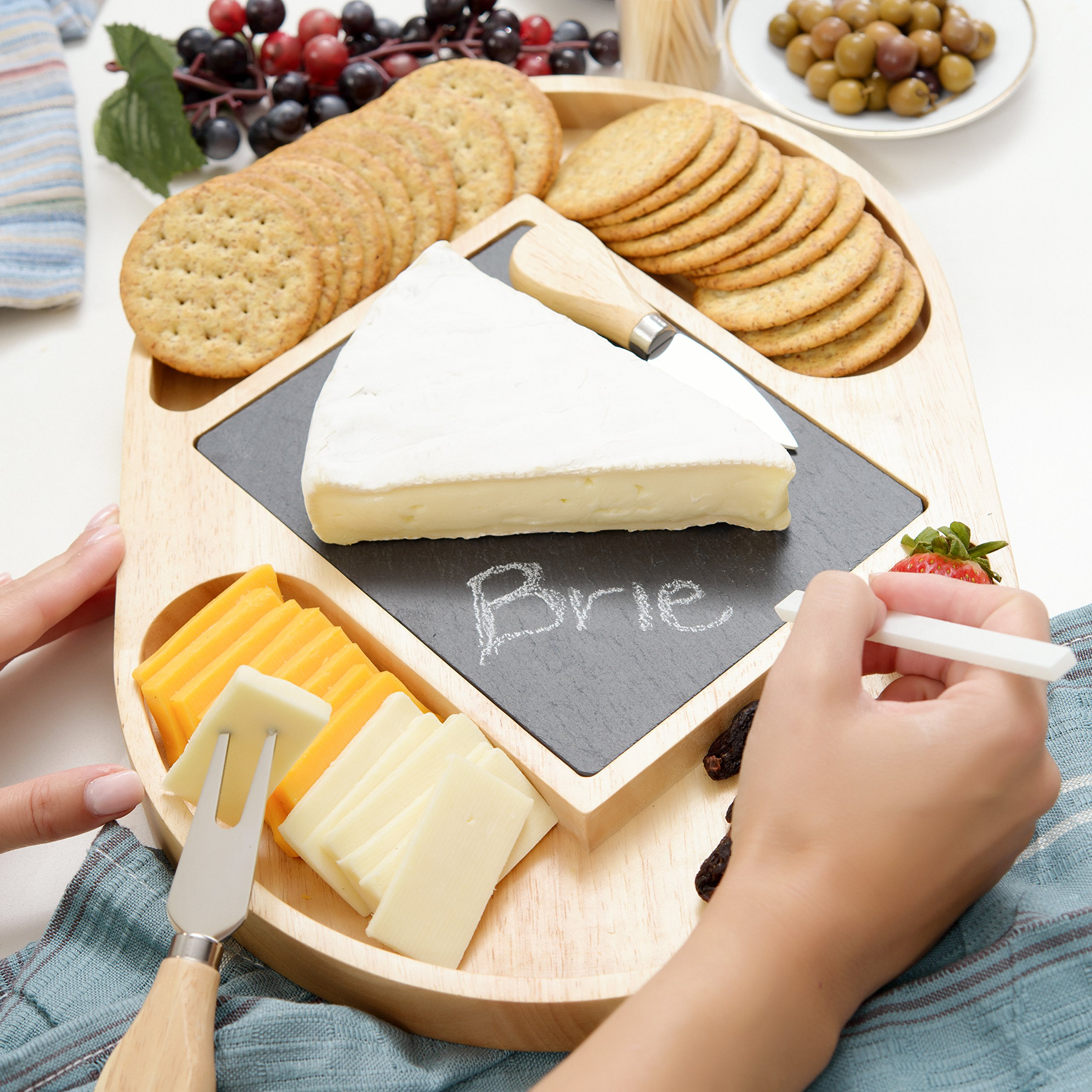 Slate and Wood Cheese Board Set, Include Cheese Tools, Chalk, Removeable Slate Cheeseboard Platter Tray for Easy Cleaning [14.5'' x 10.5'']