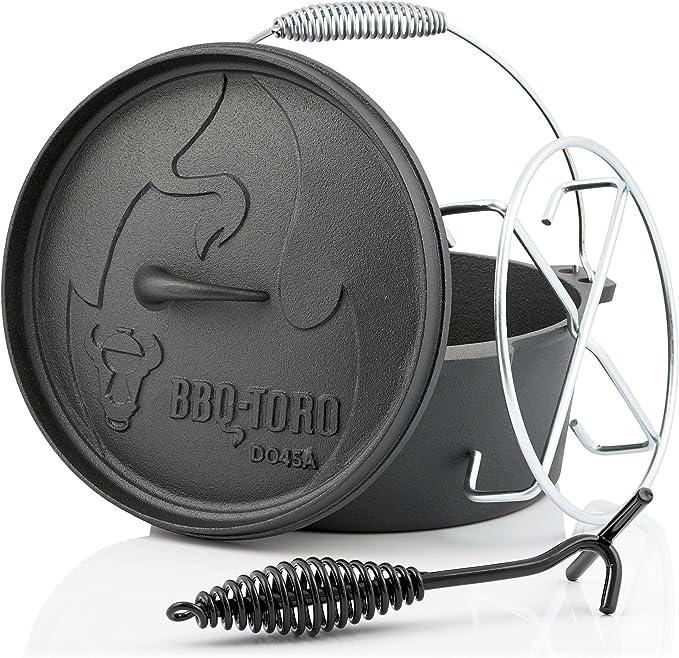 BBQ-Toro Horno Holandés con Mango I Serie Alpha I Dutch Oven I Hierro Fundido I Quemado I Barbacoa