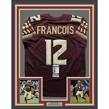 Image Unavailable. Image not available for. Color  Framed  Autographed Signed Deondre Francois 33x42 Florida State Seminoles Red  College Football Jersey ... 976d9d8ad