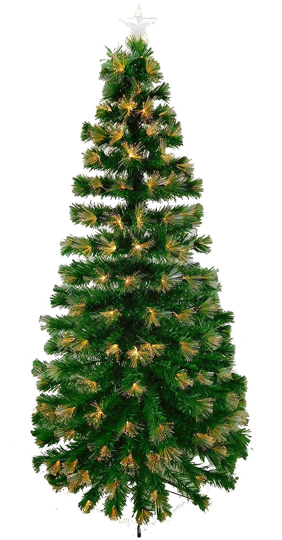 LED Weihnachtsbaum, aus Glasfaser, mit warmweißen LED-Lichtern, Feuerwerk-Effekt, 1,8 m, Grün