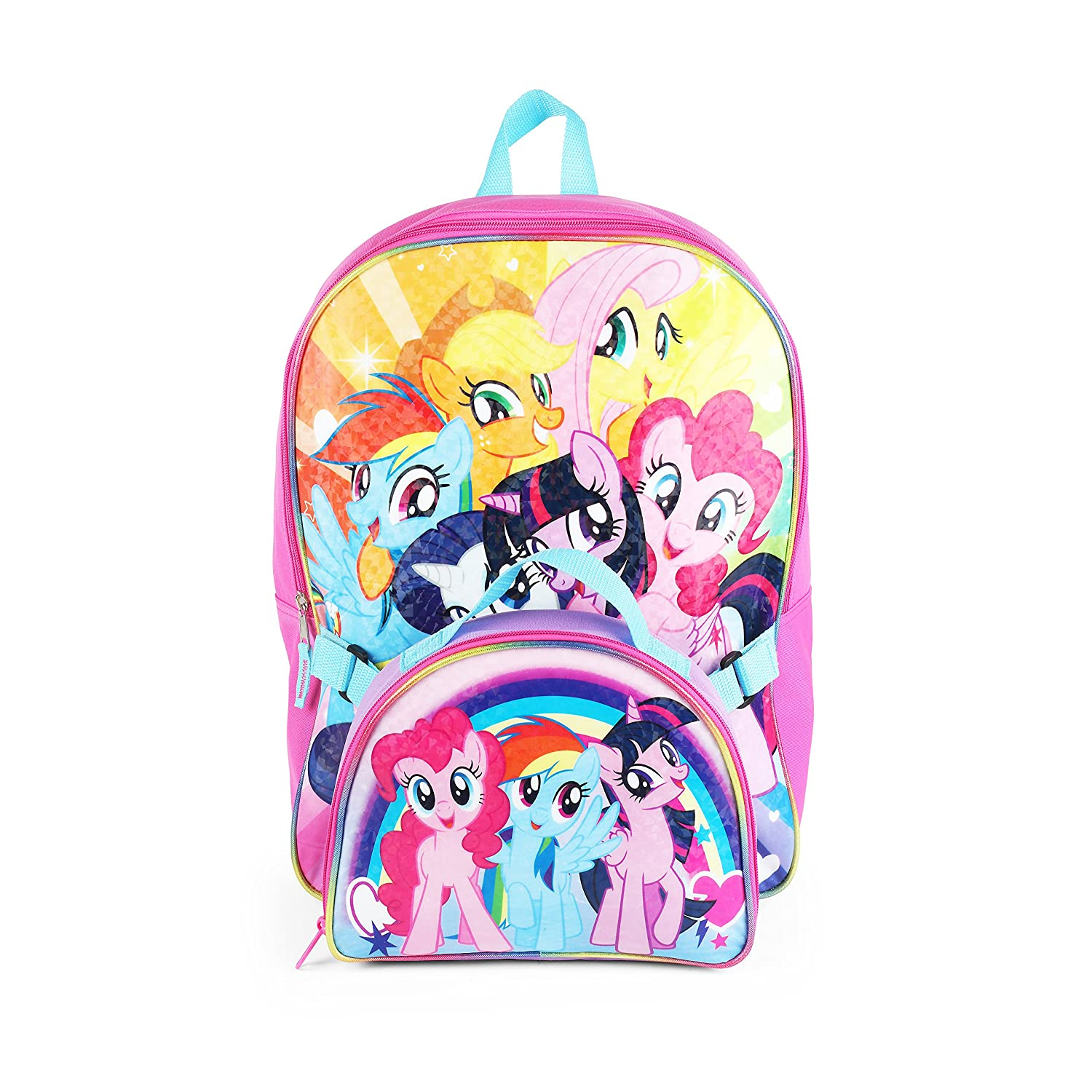 """Hasbro My Little Pony 16"""" Rainbow Backpack with Insulated Lunch Kit"""