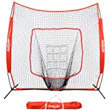 GoSports 7' X 7' Baseball & Softball Practice Hitting & Pitching Net with Bow Frame, Carry Bag and Bonus Strike Zone…
