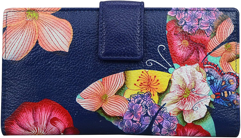 Anna by Anuschka Bi-Fold Organizer Wallet-Leather, Butterfly Mosaic