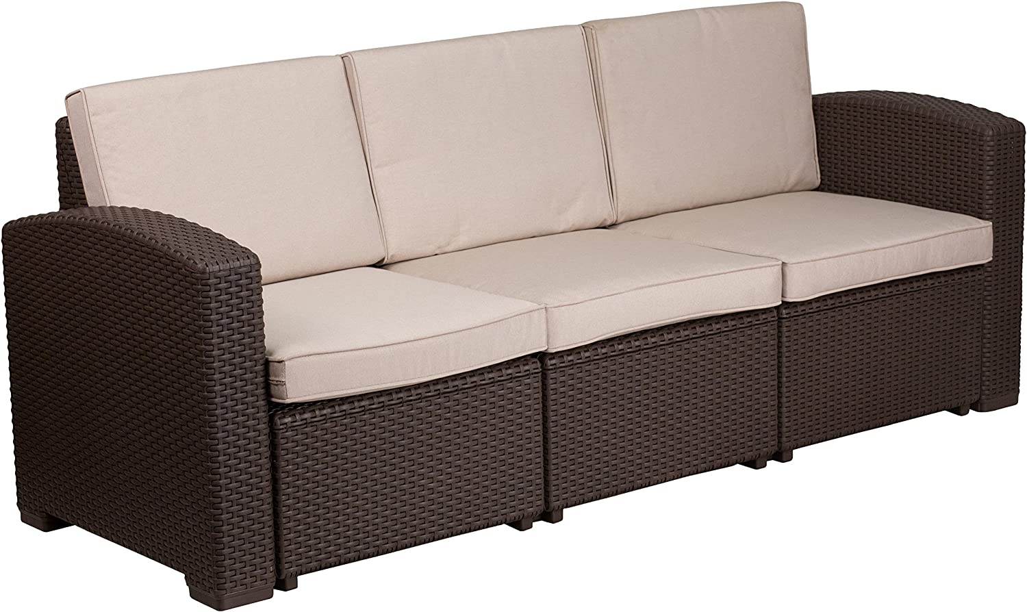 Flash Furniture Chocolate Brown Faux Rattan Sofa with All-Weather Beige Cushions