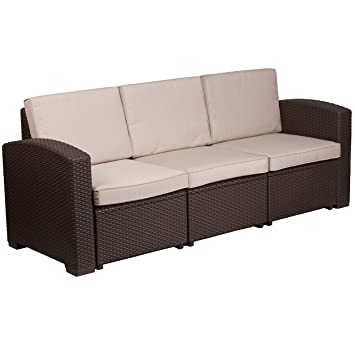 Amazon.com: Flash Muebles café Chocolate Faux sofá de ratán ...