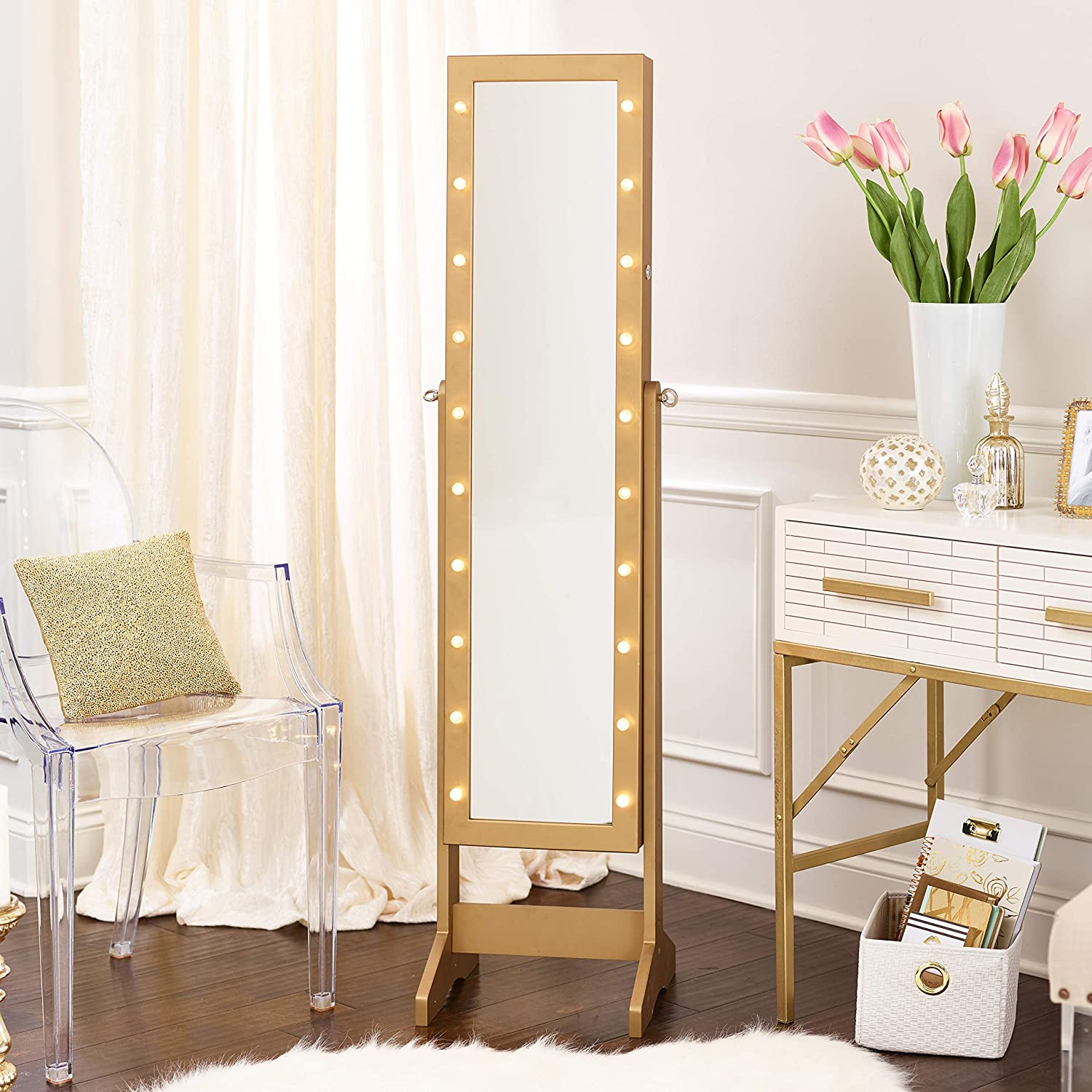 Amazon Com Firstime Innerspace Luxury Products Free Standing Jewelry Armoire With Led Lights Gold Kitchen Dining
