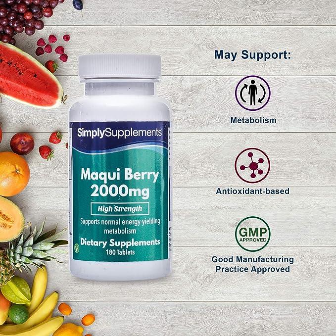 Bayas de Maqui 2000mg - 180 comprimidos - Suficiente para 2 meses - Con nutrientes esenciales para la pérdida de peso - SimplySupplements: Amazon.es: Salud ...