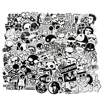 Cool stickers black white 100pcs vinyl decals vintage retro pop art graffiti super stickers for laptop