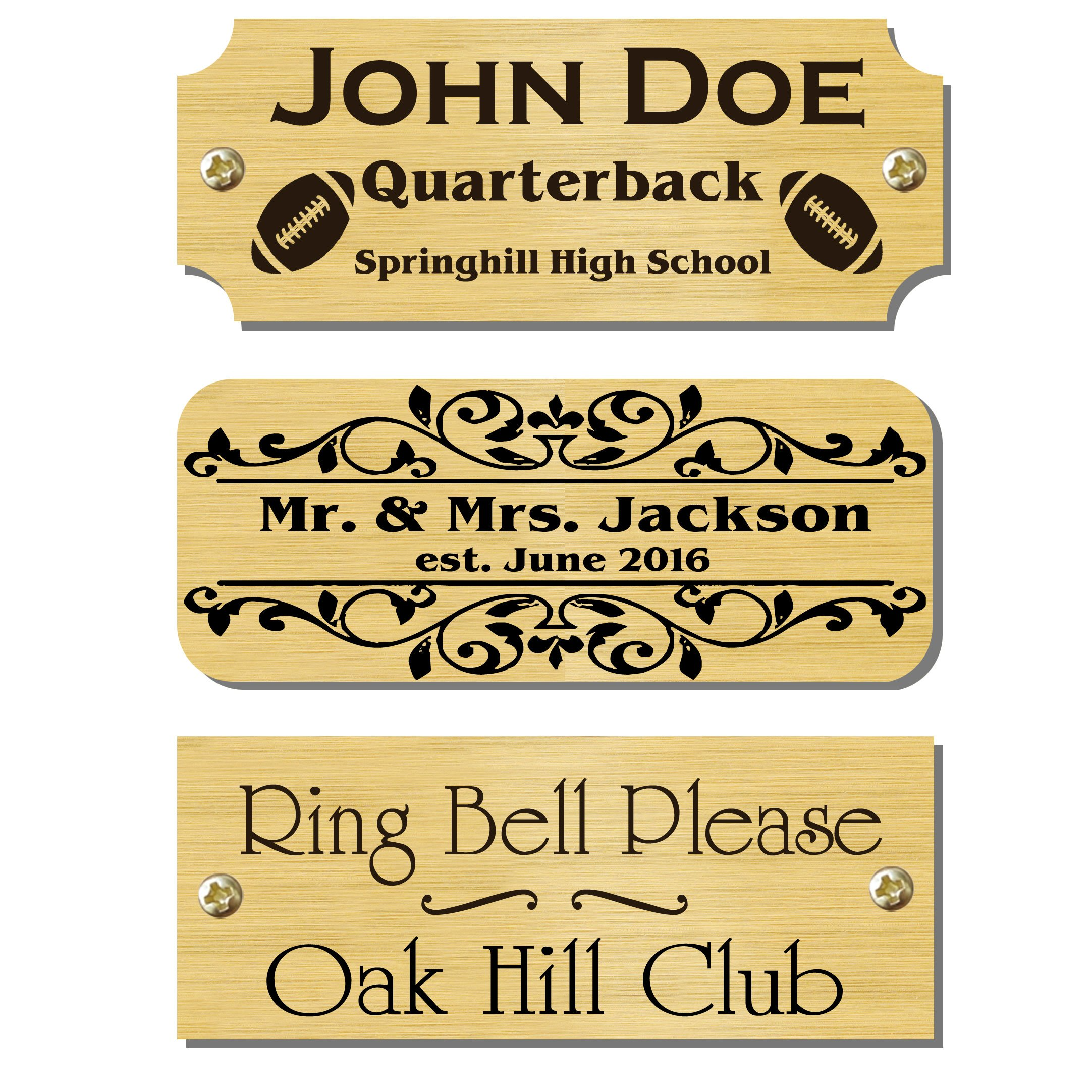 1'' H x 2.5'' W, Solid Brass Satin Gold Finish Plates, Custom Engraved Personalize Tag Black Text Made to Order Made in USA