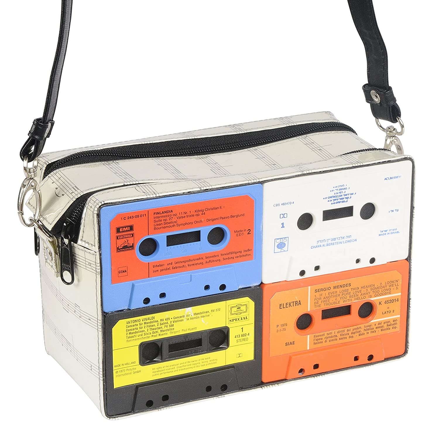 Music cassette crossbody bag - FREE SHIPPING - upcycled retro style eco friendly vegan handbag reclaimed vintage handmade gifts bag bags gift for nostalgic retros cassettes collection radio tape