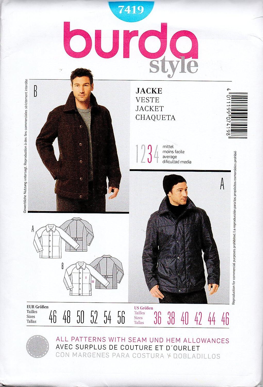 Patrón de costura Burda 7419 - Chaqueta para hombre tallas 36 a 46 ...