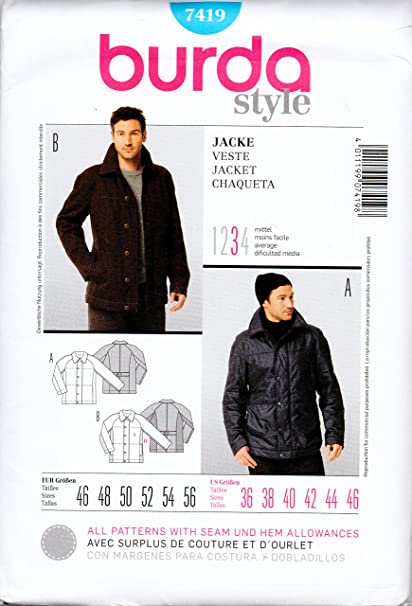 Amazon.com: Burda 7419 Sewing Pattern Men\'s Jacket Sizes 36 to 46 ...