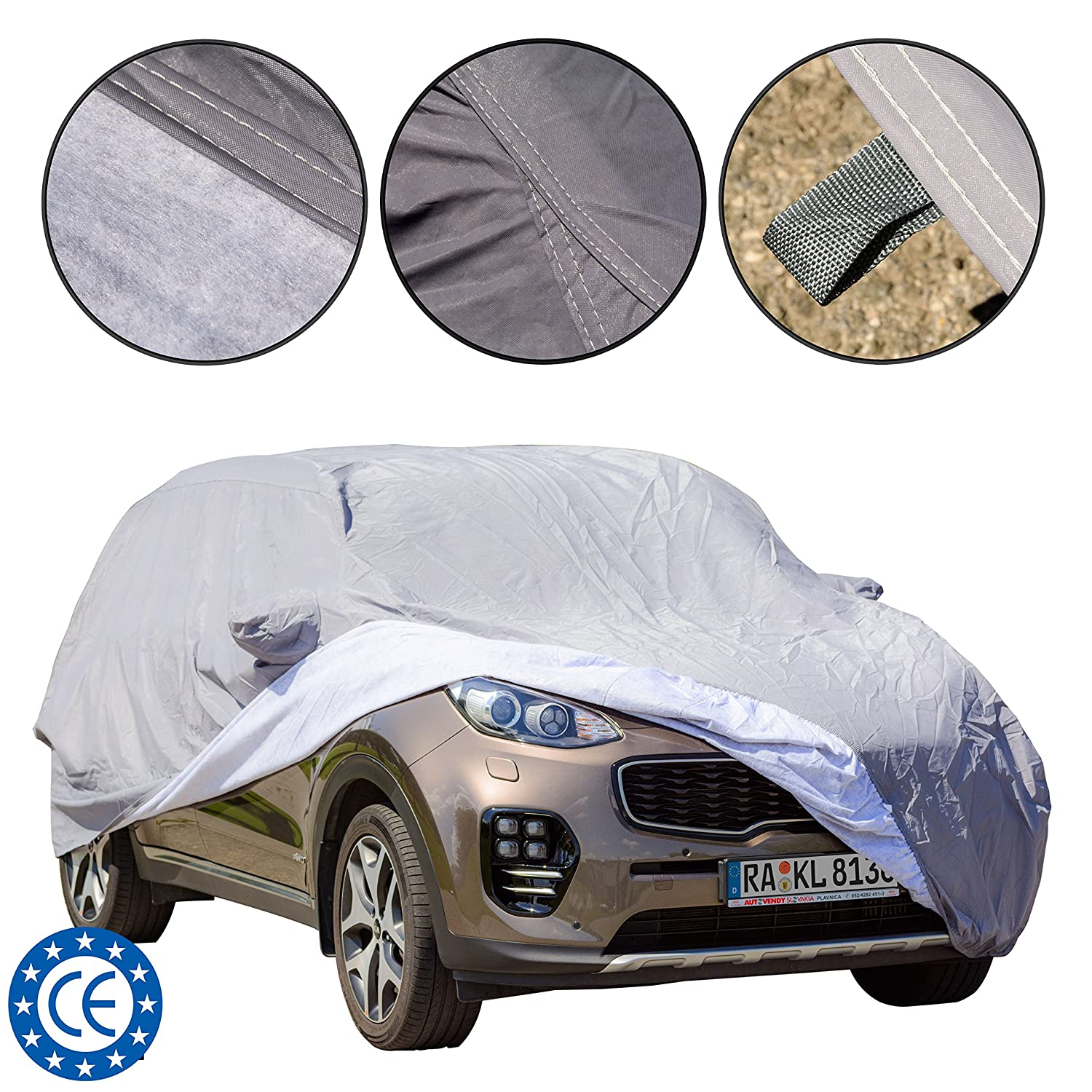 Dust // UV Proof Heavy Duty Waterproof Cotton inside lining Scratch Proof Durable Car Cover L 480*193*155 cm Universal fit for SUV