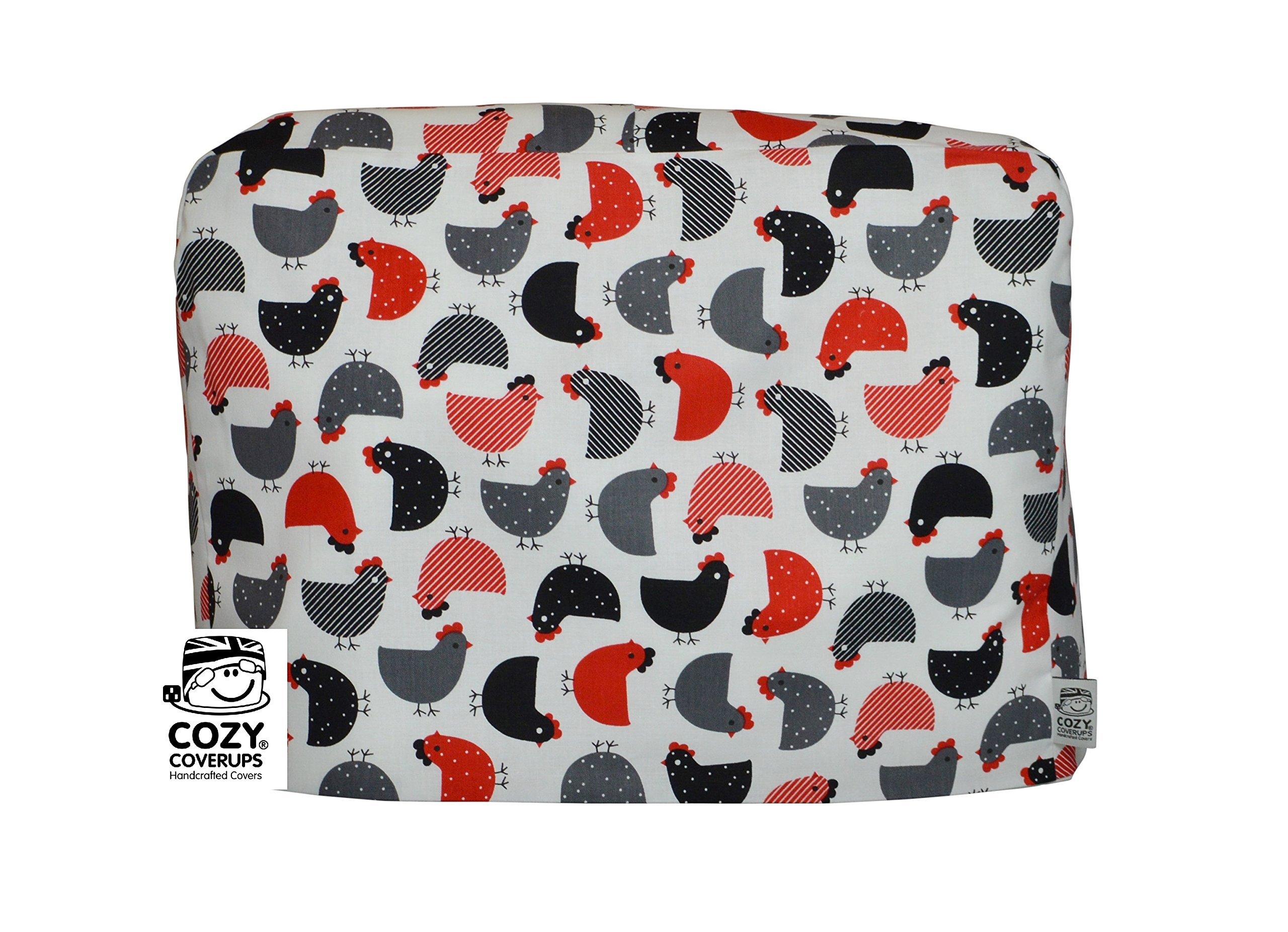 CozyCoverUp for Kitchenaid 5Quart Artisan Tilt Head Stand Mixer Dust Cover Black and Red Chickens on White Cotton, Handmade in the UK and fully lined