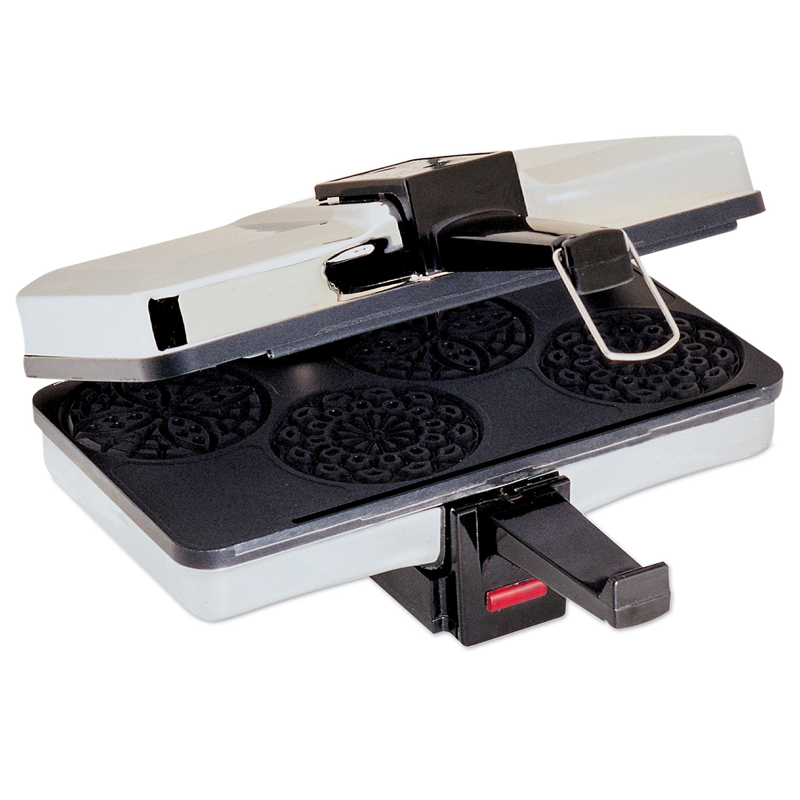 Mini Pizzelle Italian Waffle Iron Maker Baker Makes Four 3 1 4 Inch