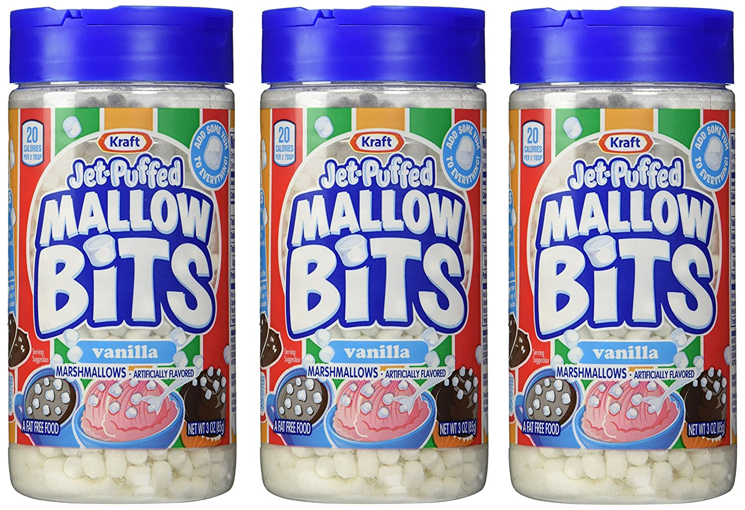 Kraft Jet-puffed Mallow Bits Vanilla Flavor Marshmallows, 3 OZ Bottles (Pack Of 3)