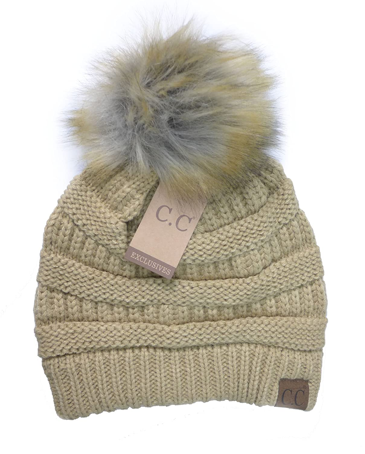 74808affced Women s Fur Pom CC Beanie One Size Camel at Amazon Women s Clothing store