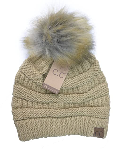 50e0e55506d Women s Fur Pom CC Beanie One Size Camel at Amazon Women s Clothing store