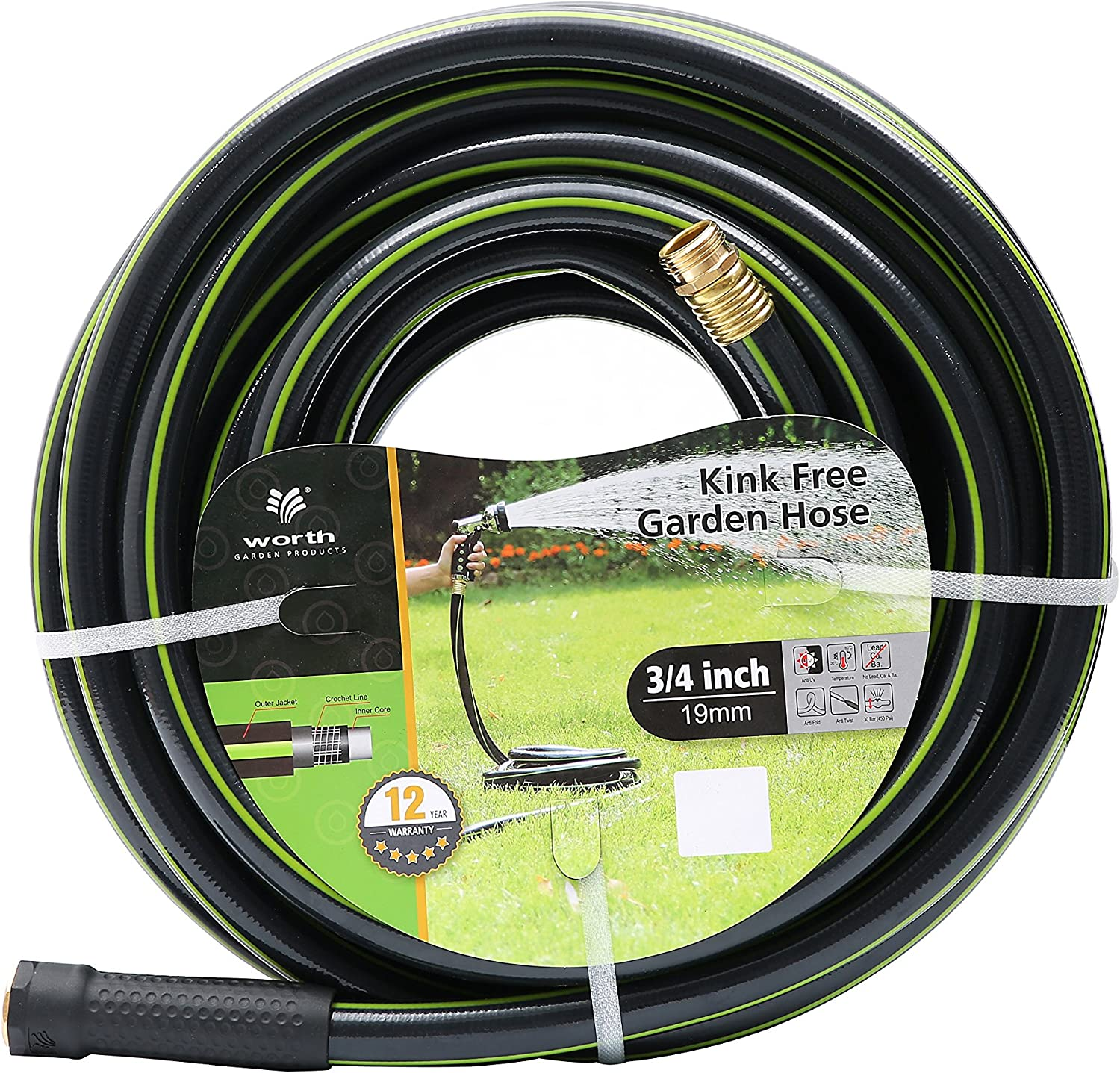 Worth Garden 3/4 x 75ft Rugged Water Hose - Durable Non Kinking Garden Hose - PVC Material with Brass Hose Fittings - Flexible Hose for Household and Professional Use 12-Year Warranty - H165B03