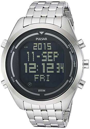 0691f2243 Image Unavailable. Image not available for. Color: Pulsar Men's PQ2043 Digital  Silver-Tone Stainless Steel Watch