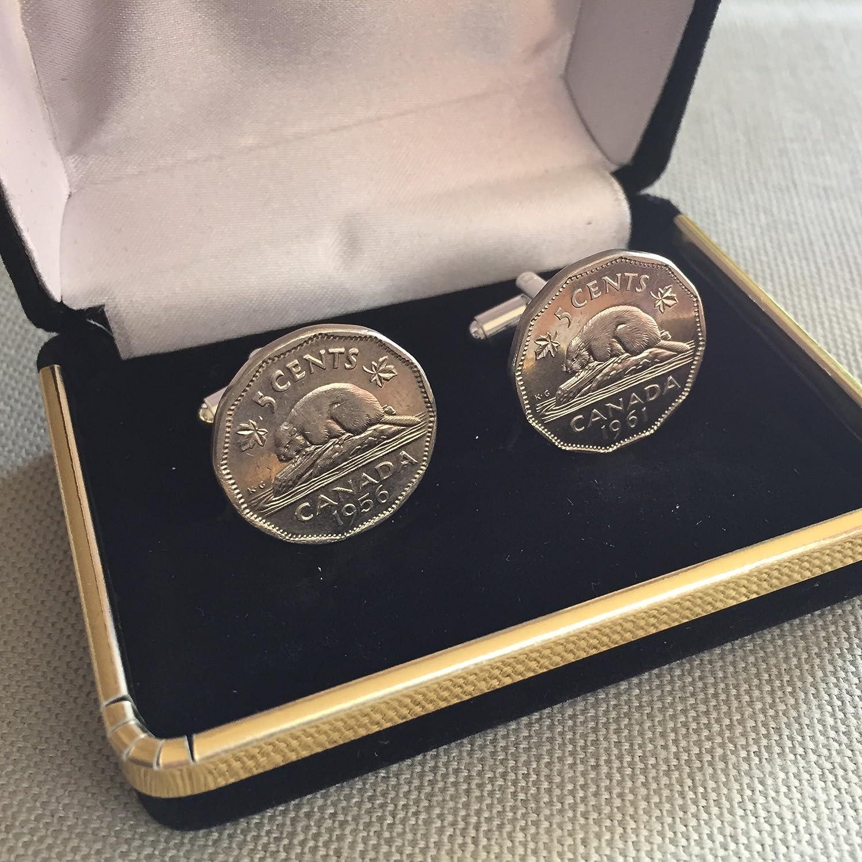 Canada Coin Cufflinks Cuff Links Flag Canadian Quebec Montreal Alberta Toronto Maple Leaf Hockey Beaver Nickel Wedding Gift Jewelry