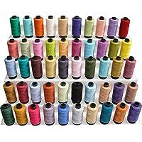 Lot de 50 grandes bobines de fil à coudre - 100% pur coton - 457m par bobine - 50 couleurs - Multifonctionnelles