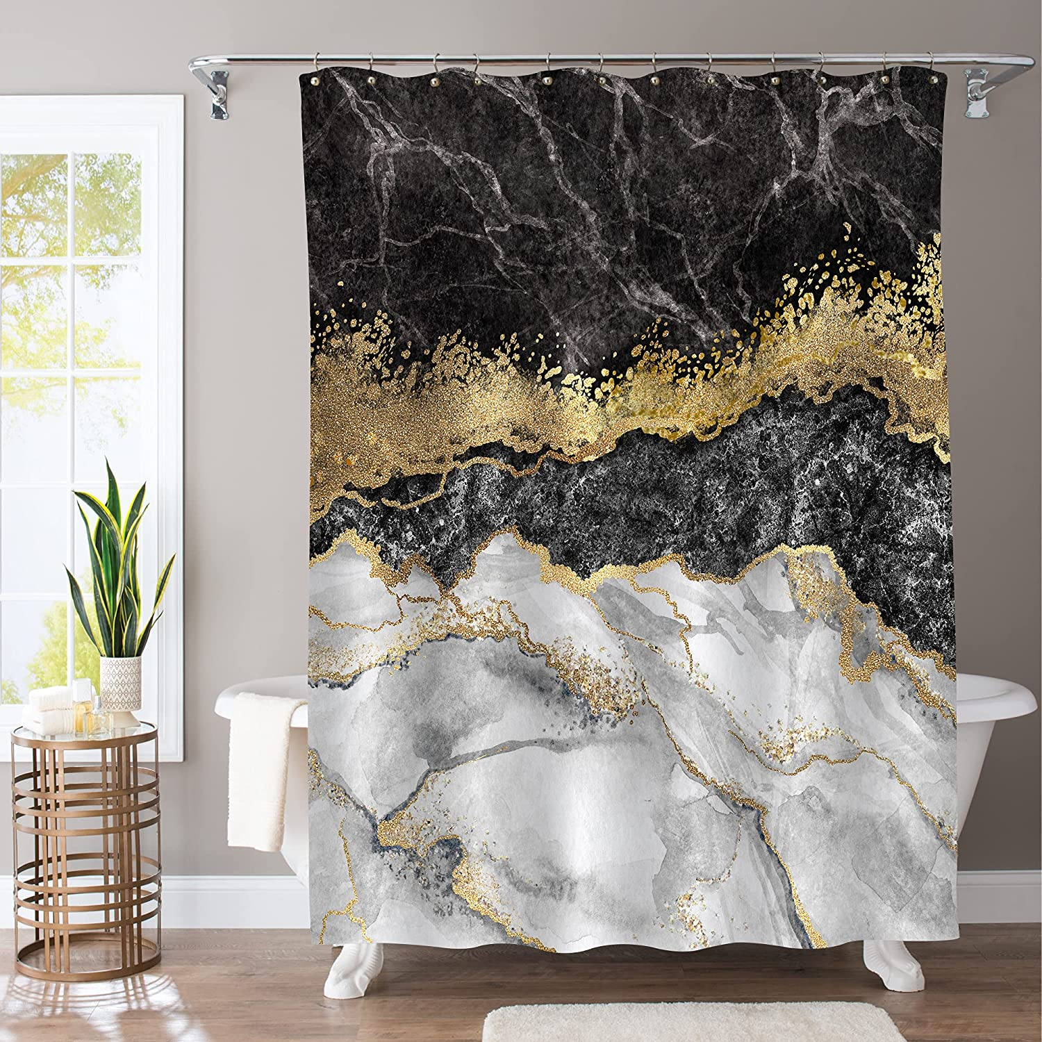 MitoVilla Black Grey Marble Shower Curtain for Bathroom, Abstract Gray Black and White Marble with Gold Crack Bathroom Curtain for Modern Bathroom Decor, Stone Shower Curtain Sets with Hooks, 72 x 72