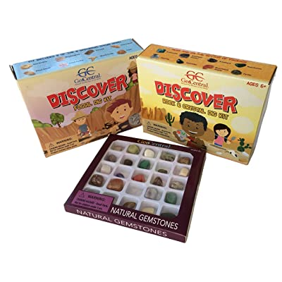 Fossil, Rock, Crystal, Gemstone Discovery Bundle / 3 Fun Learning Kits / Rock and Crystals Excavation Dig Kit, Fossil Digging Kit, and Natural Gemstones Geology Kit for Kids: Toys & Games