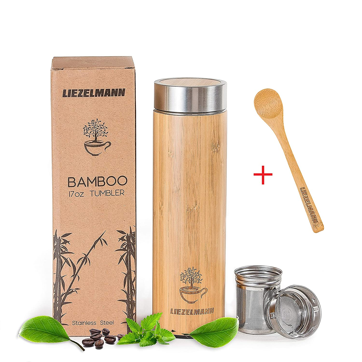 Bamboo Travel Tumbler Tea Infuser- 17oz Stainless Steel Thermos & Strainer, Mug for Hot/Cold Brew Coffee, Vacuum Insulated Bottle, Mesh filter for loose leaf, Fruit Infused Water Flask