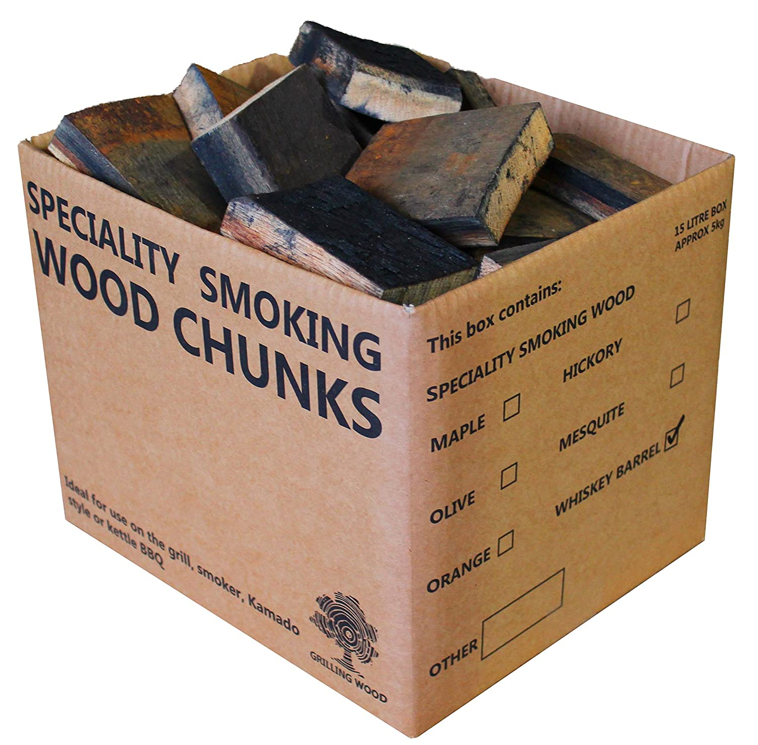Barbecue tonneau de chêne Whisky Chunks – 5 kg Grilling Wood