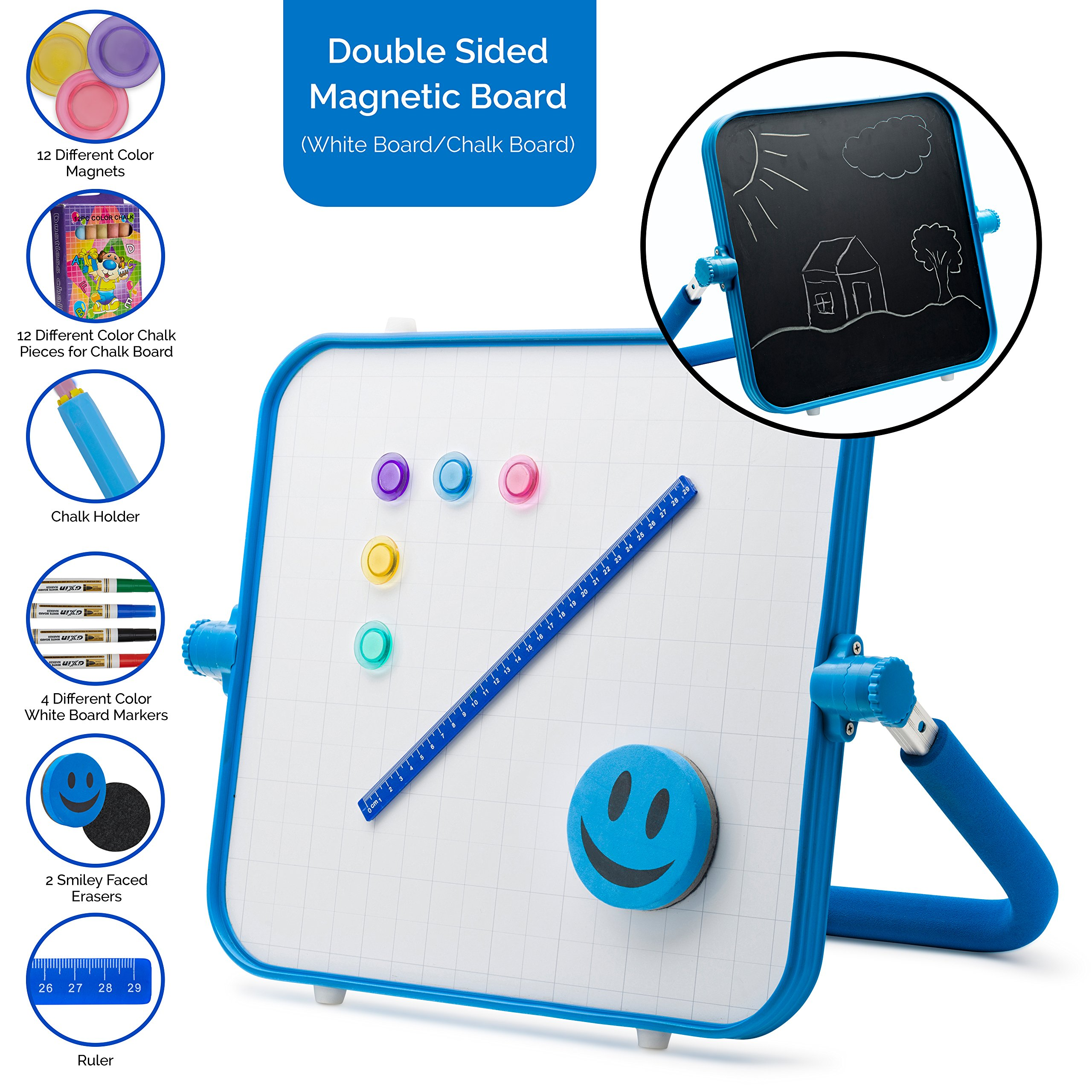 Morvat Premium 2-sided Tabletop Art Easel for Kids, Dry Erase and Chalk Board Set for Toddlers and Children, Great Activity and Gift for Kids, Magnetic, Washable | Blue