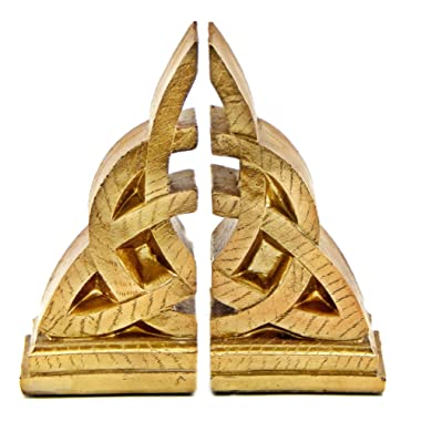 Bellaa 21787 Celtic Bookends Decorative Mystical Knot Design Triquetra
