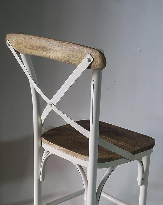 Chaise pour il/ôt de Cuisine M/étal Blanc cass/é et Bois Naturel Meuble House