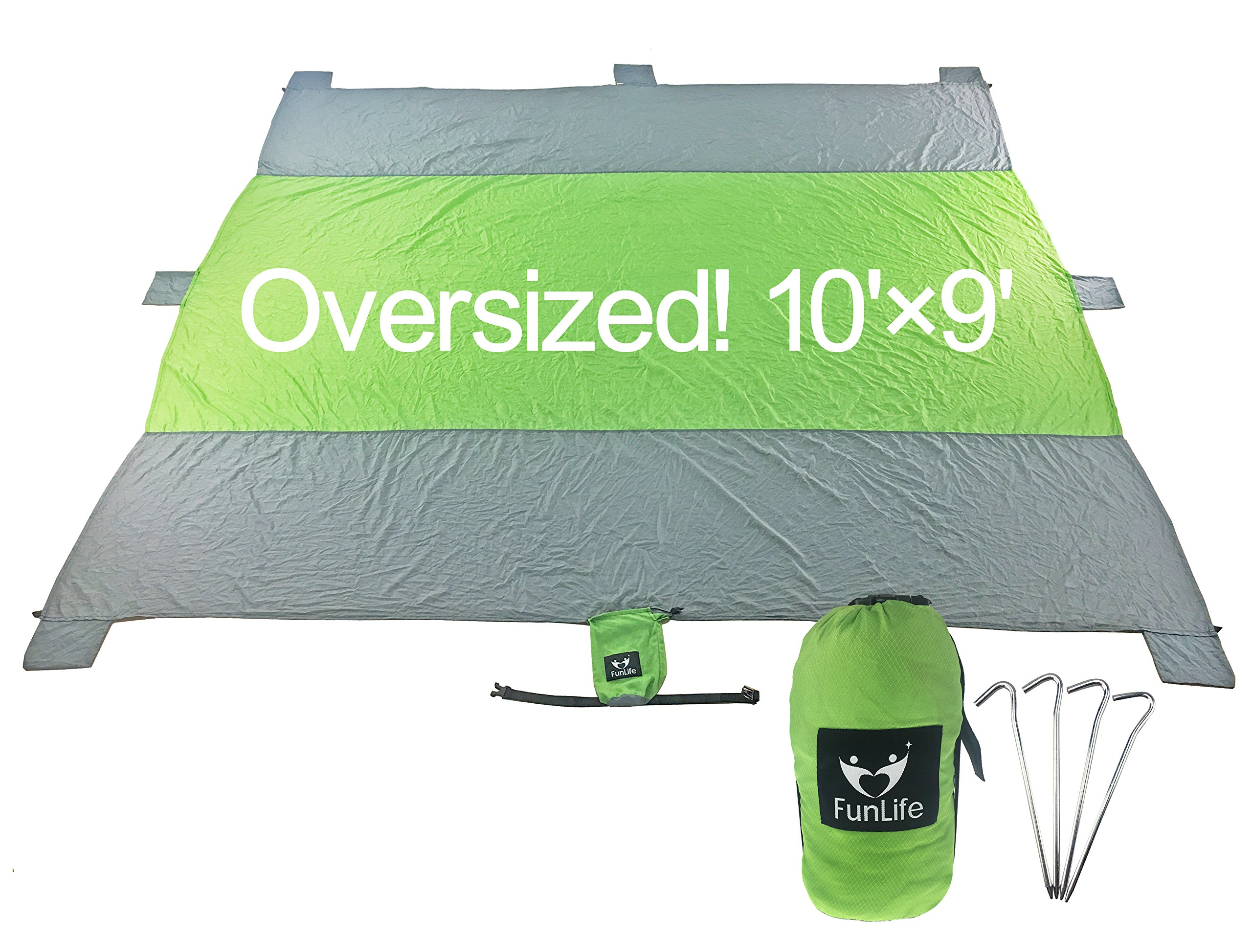 Fun Life Oversized 10'x9' Compact Picnic Blanket Beach Sand Free Gift For up to 7 Adults Soft Quick Drying Nylon 6 Weightable Pockets Personal Item Zipper Pouch 4 Anchor Loops 4 Strong 7'' metal stakes