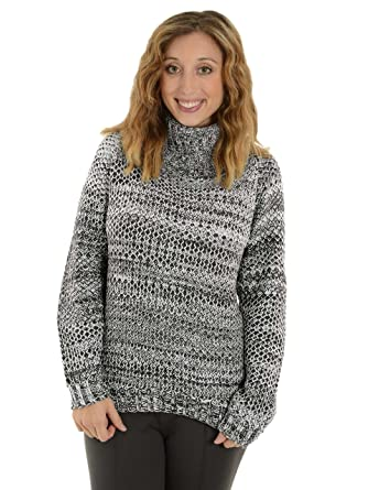 Ejay Women Chunky Knit Black White Cowl Neck Sweater Jayee Hi Low