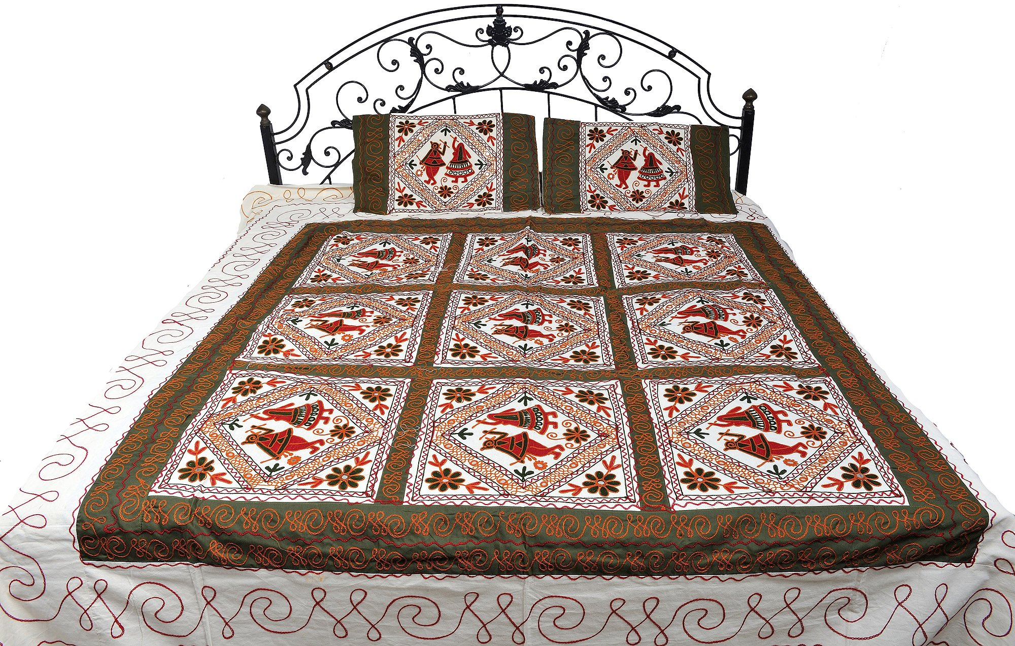 Ivory Gujarati Bedspread with Embroidered Dandiya Raas Dance - Pure Cotton with Pillow Cases