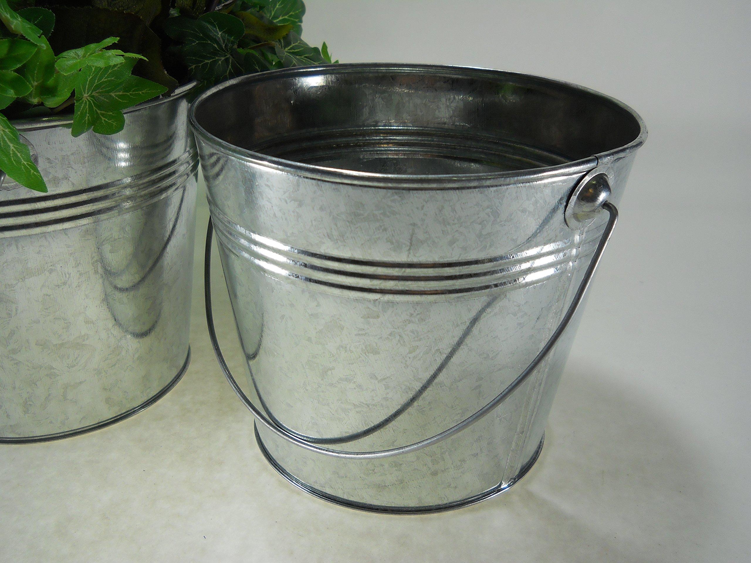 3 pc set 5 1/2'' Tall 2 Qt Galvanized Pail/bucket with ridges