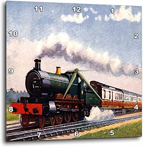 3dRose DPP_4794_3 Steam Train Wall Clock, 15 by 15-Inch