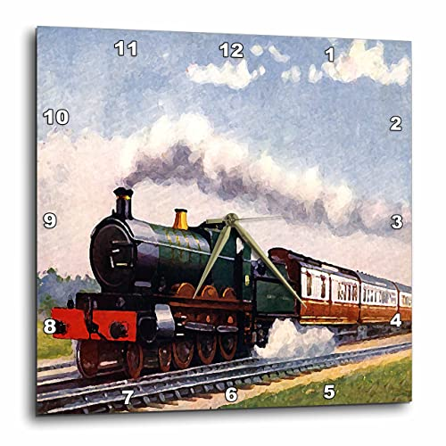 3dRose Steam Train Wall Clock, 10 by 10-Inch