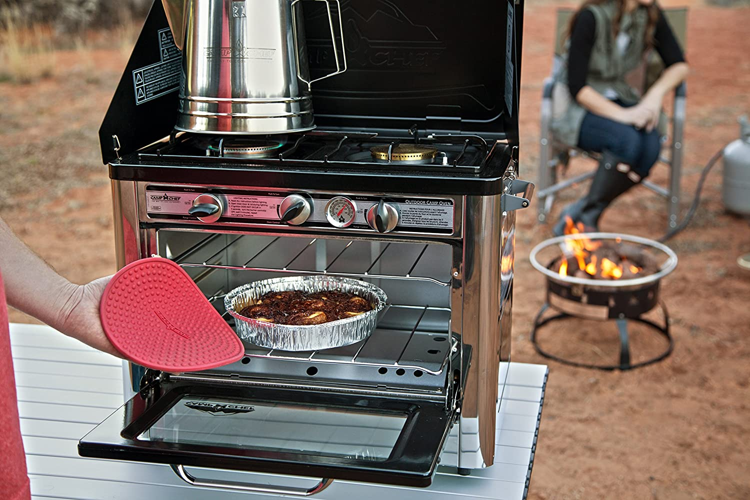 Amazon.com : Camp Chef Camping Outdoor Oven with 2 Burner Camping ...