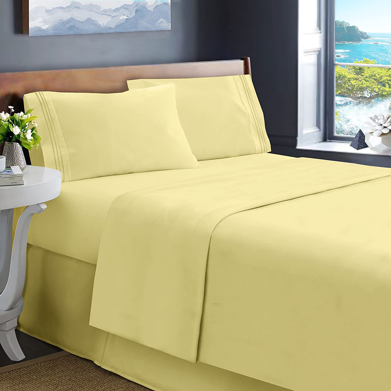 Mellow Yellow Harbor /& Hearth Size 4Piece Bed Sheet Set Best Quality Double Brushed Microfiber Sheets Queen Stain Resistant. Light Yellow - Wrinkle Fade